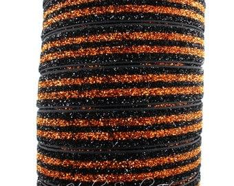 Orange and Black Glitter Elastic - Fold Over Elastic, Hair Elastic Bracelet, Elastic, Hair Elastic Tie, Elastic Ribbon, Elastic Hair Band