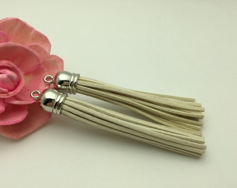 50 Pieces 86x12MM Ivory Color Faux Suede Leather Tassel With Plastic Silver Top Cap,Phone Accessories, Necklace Tassel Pendant