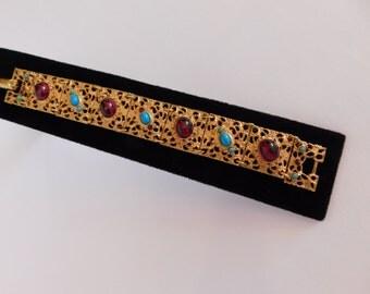 RENAISSANCE STYLE BRACELET - Great Detail and Colors - Versatile: Renaissance, Medieval, Victorian, Ethnic