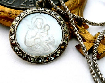 Saint Joseph Necklace, Vintage French Medal, Mother of Pearl Medal, Marcasite Medal