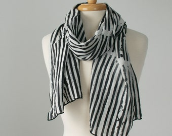black and white striped hand printed linen rayon scarf