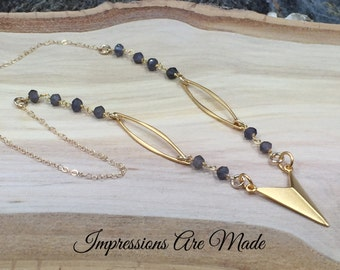 Gold Triangle Necklace, Iolite Necklace, Gold Necklace, Beaded Chain Necklace, Bead Necklace, Purple Necklace, Grey Necklace