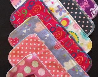 Cloth Diaper Inserts, Diaper Doublers, Diaper Soakers, Girl Print - Pack of 12