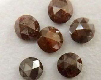 2 Pcs Red Brown Rose Cut Diamond, Red Brown Natural Rough Diamond, Red Brown Raw Diamond,  5.5mm, 2 CTW - DS145