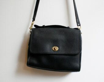 Vintage Black Leather Coach Mini Brief Bag