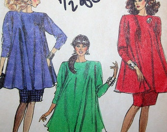 Vintage 80s Maternity Top Pull On Pants and Skirt Sewing Pattern Simplicity 8757 Size 8 Bust 31 1/2