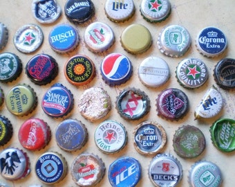 62 Salvaged Metal Bottle Caps - Found Objects for Assemblage, Altered Art or Mixed Media
