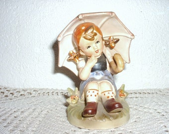 GIRL WITH UMBRELLA ! Vintage Hummel Style Figurine Made in Japan