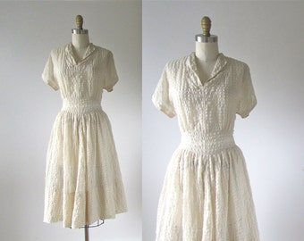 vintage 1950s dress / 50s dress / Snow Queen