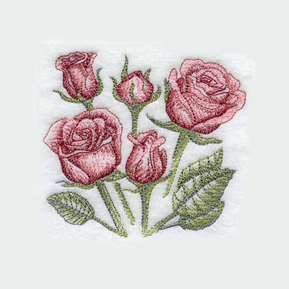 Rose Embroidered Towels: Sketched Roses Tea Towel Flower By CharlenesEmbroidery On Etsy