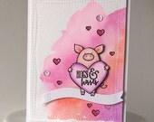 Hogs and Kisses - Handmade Card