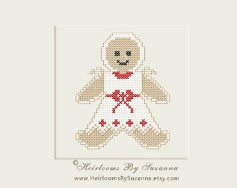 Gingerbread Girl - Machine Embroidery Cross Stitch Design  - Christmas Design - 4x4 - INSTANT Download - Pes - Hus - Pcs - Jef - Vip
