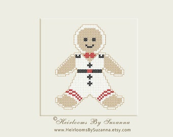 Gingerbread Boy - Machine Embroidery - Machine Cross Stitch - Christmas - Holiday - INSTANT Download - 4x4 Design