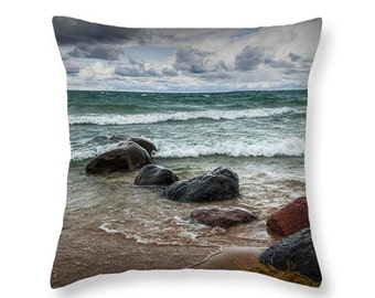 Waves on the shore at Wilderness Park in Sturgeon Bay Lake Michigan No.00592 decorative novelty throw pillow Home Décor cushion cover