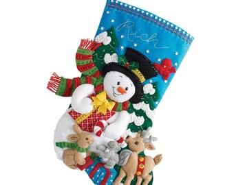 SNOWMAN and Forest Friends - Bucilla Felt Appliqued Christmas Stocking