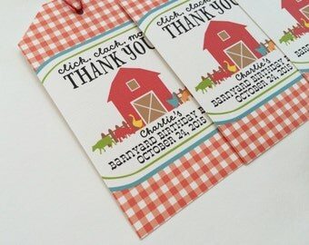 Farm Birthday Tag, Barnyard Birthday Tag, Favor Tag, Farm Birthday Invitation, Farm Favor Tag, Barnyard Favor Tag, Farm Thank You Tag
