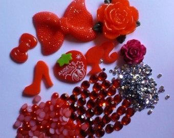 Kawaii big red bow cabochon decoden diy charm kit  B  27--USA seller