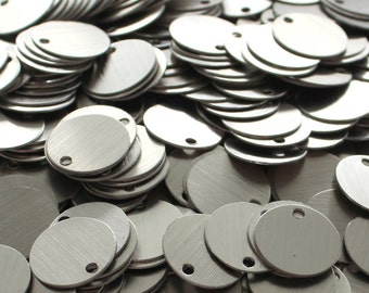 100 Brushed Aluminum Tags, Aluminum Stamping Blanks, Jewelry Making Supplies, Chainmaille Supplies