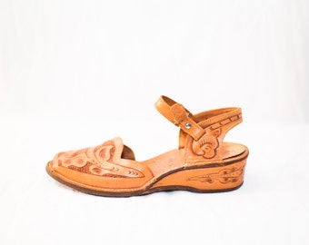 brown tooled leather buckle strap wedge sandals - womens size 8 - boho sandals
