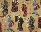 Kabuki and Geisha Figures on Bamboo Tan with Metallic Gold Print Pure cotton Fabric--One Yard