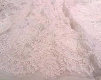 Diamond White Intricate French Alencon Lace Fabric--One Yard