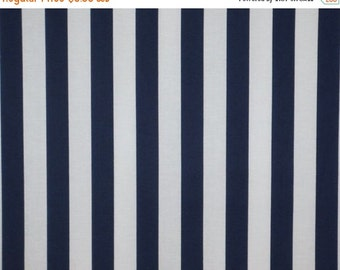 ON SALE REMNANT--Navy and White Classic Awning Stripe Pure Cotton Fabric--1&1/8 Yard
