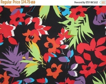 ON SALE Red and Apple Green on Black Tropical Floral Print Stretch Cotton Sateen Fabric--One Yard