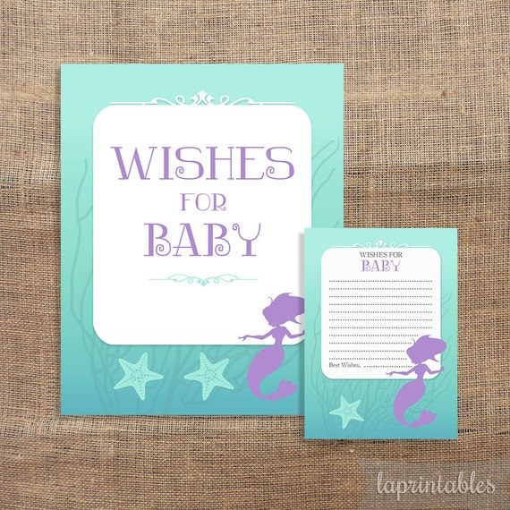 wishes for baby cards sign mermaid baby shower activity baby girl