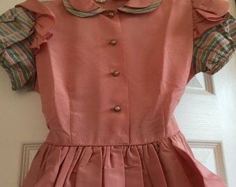 Vintage Girls 1940s Dress, Vintage Fashion, Little Girls Party Dress, Rainbow Girleen Original
