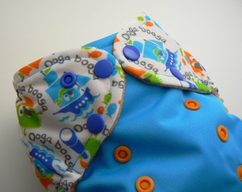 One Size Cloth Diaper - Ooga Booga Sailor PUL with Tangerine Microfleece