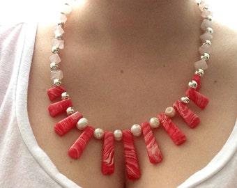 OOAK Gemstone Necklace, Rhodochrosite Stone Beads, Rose Quartz, Rose Quartz Stone Beads, Silver Plated Spacers, Summer Jewelry