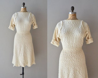 vintage 50s knit dress / 1950s boucle knit dress