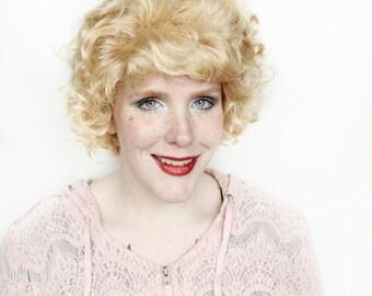 SALE Blonde wig | Curly Blonde wig, Short wig, Short blonde wig | Blonde highlights wig | Lemonade Swirl