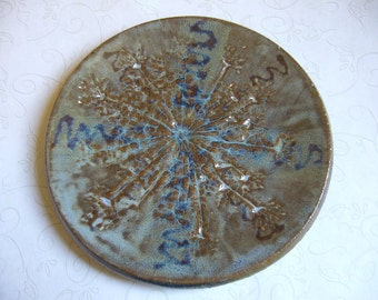 Misty Sage Blue Queen Anne's Lace Pottery Dish or Spoon Rest