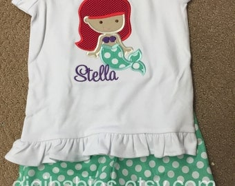 Ariel inspired outfit.  Disney, shirts, shorts, outfit, the little mermaid