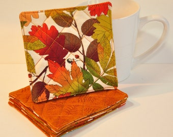 Fabric Coasters Set of 4 Mug Rug World's smallest quilts  Autumn decor fall leaves