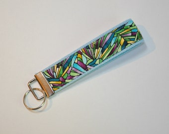 Key fob Keyfob stained glass mosaic on blue fabric wristlet  Key chain fabric lanyard
