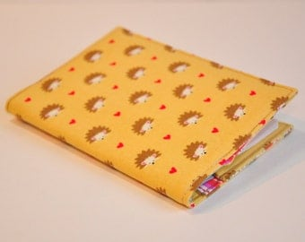 Passport Cover Passport Holder Sleeve Hedgehogs and hearts tan and brown