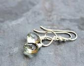 Petite Prasiolite Earrings Green Amethyst Sterling Silver Pale Green Delicate Jewelry