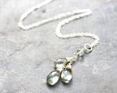 Green Amethyst Necklace Prasiolite Necklace, Sterling Silver Teardrop Pendant Necklace Mint Gems