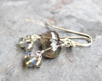 Labradorite Earrings Sterling Silver Grey Earrings, Dangle Cluster Gemstone Earrings