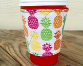 Pink and Pineapples Coffee Cozy Reversible Christmas Sticking Stuffer Gift for Her