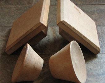 Vintage Wooden Drawer Pulls Cabinet Knobs Handles Mid Century Modern Set of 4 Unfinished Wood Assorted Restoration Craft Supplies