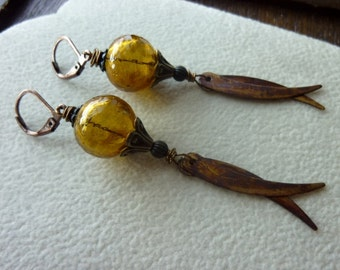 40% OFF SALE! - Hand Blown Hollow Glass with Brass Fringe Charms in Chestnut Lavender Earrings