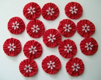 """Set of 15 Red Yo Yos 1.5"""" Embellished with Snowflakes Sequins Beads"""