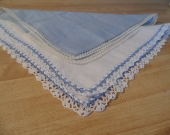 Two Vintage Ladies Hankies, Hand Crocheted and Trimmed Edges, Blue and White