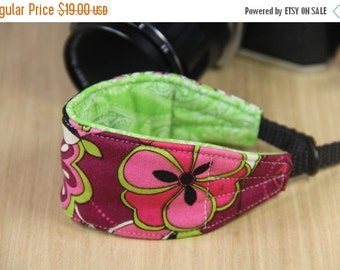 FINAL CLEARANCE Camera Wrist Strap for DSLR - Quick Release - Pink and Green Flowers - Ready to Ship