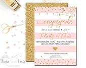 Engagement Party Invitation - Bridal Shower Invitation - Engagement Party Invite- Wedding Shower Invitation - Pink & Gold Bridal Shower