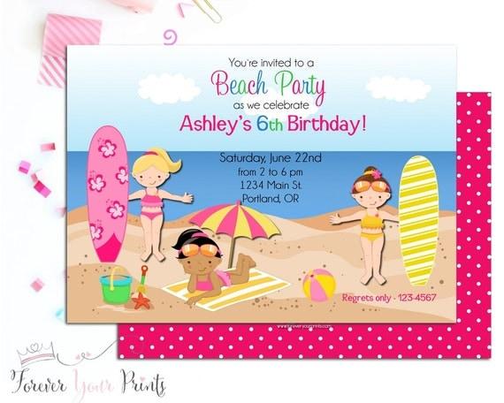 Girls Beach Party Invitation, Girls Birthday Invitation, Girls Beach Invitation, Surfing Invitation, Birthday Party Invitations, Surf Party