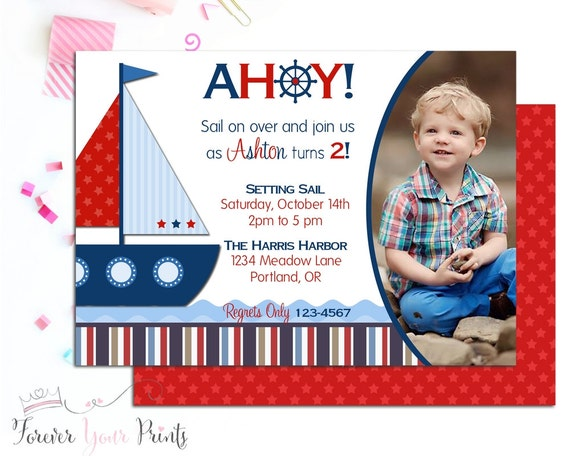Nautical Sailboat Birthday Invitation, Nautical Invitation, Sailboat Invitation, Nautical Invite, Sailboat Birthday, Boys Invitation